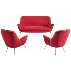 Venetian Italian Lounge Set in Red Fabric, 1950s