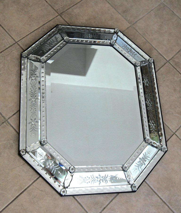 Mid-20th Century Venetian Italian Octagonal Etched Wall Mirror For Sale