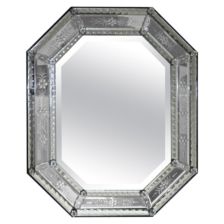 Venetian Italian Octagonal Etched Wall Mirror For Sale