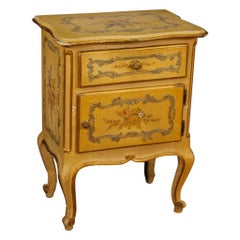 Venetian Lacquered, Painted and Gilded Bedside Table, 20th Century