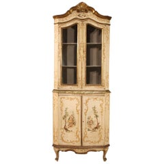 Venetian Lacquered, Painted and Gilded Corner Cabinet