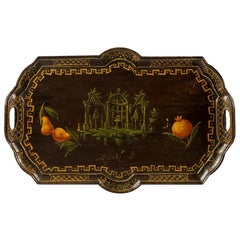 Venetian Lacquered Wood Tray, Venice 18th Century, Rococo Painted