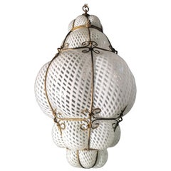 Venetian Lantern in Murano Reticello Glass, 1940s