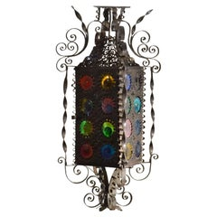 Venetian Lantern with Colored Murano Glass Disks, Late 19th Century