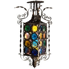 Venetian Lantern Wrought Iron and Multicolored Glass, Italy, 1890's