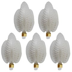 Venetian Leaf Sconces Murano Glass Leaves, Barovier and Toso Style, Italy