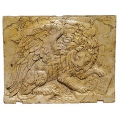 """Venetian Marble Plaque """"The Winged Lion of Venice"""""""