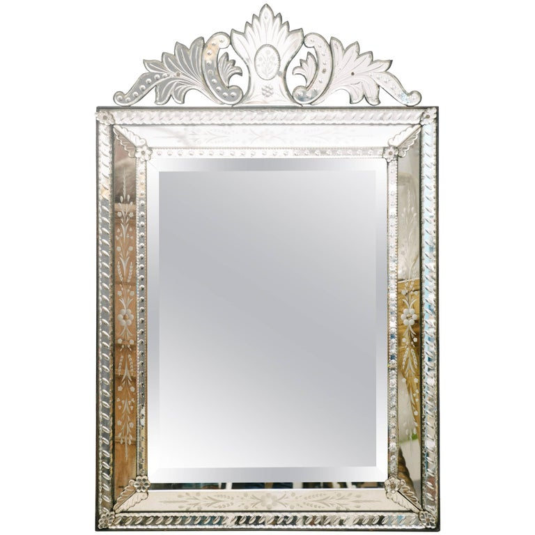 Venetian Mirror Etched And Beveled Circa 1920 For Sale