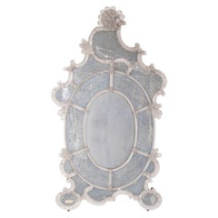 Venetian Mirror in Murano Glass in Clear Color and Handcarved Italy 1900s