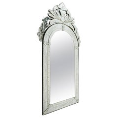 Venetian Mirror of the 20th century. Glass is etched and bevelled.