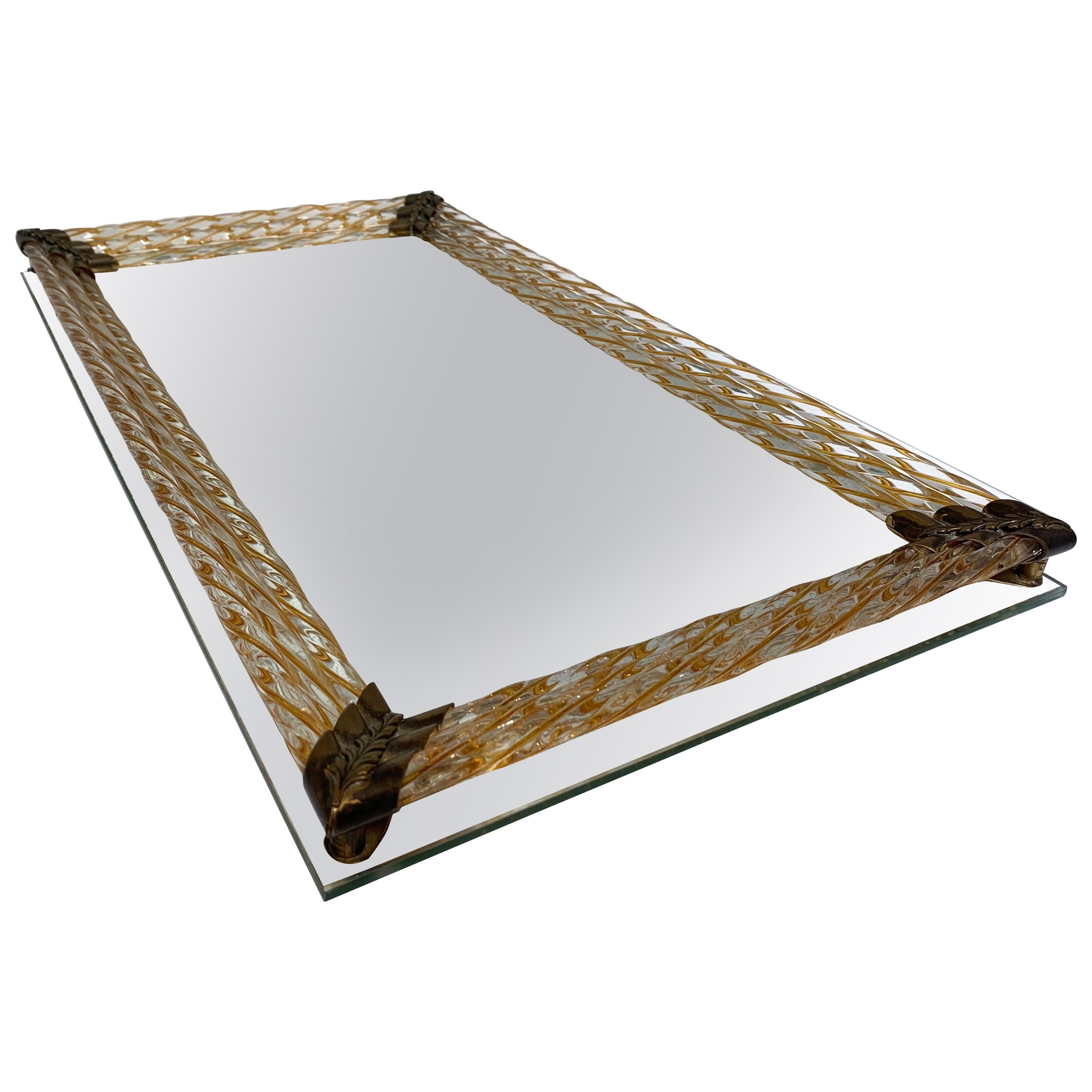 Venetian Mirror Tray with Original Gold Glass Twisted Rods, Brass Hardware