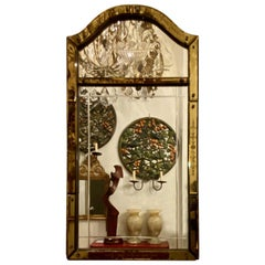 Venetian Mirror with Etched Amber Glass Frame