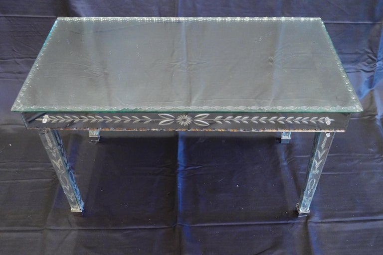 Hollywood Regency Venetian Mirrored Glass Coffee Table by S.A.L.I.R. For Sale