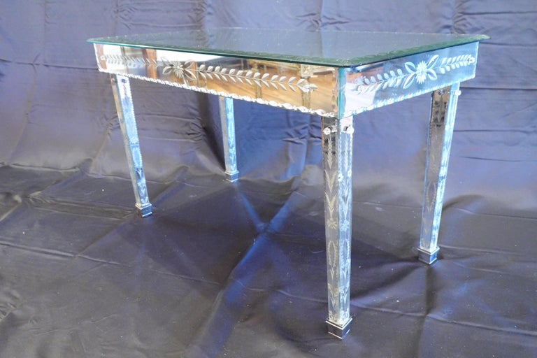 Italian Venetian Mirrored Glass Coffee Table by S.A.L.I.R. For Sale