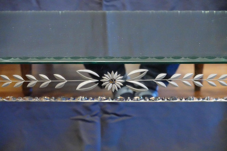 Silvered Venetian Mirrored Glass Coffee Table by S.A.L.I.R. For Sale