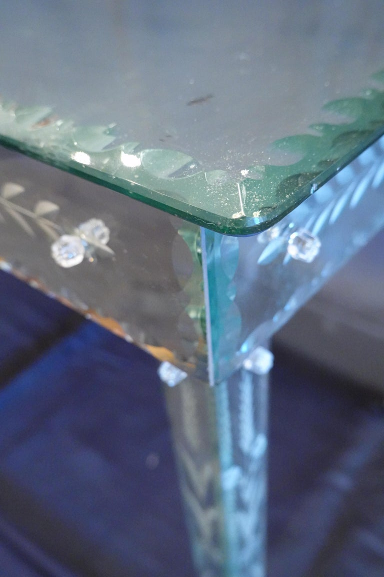 20th Century Venetian Mirrored Glass Coffee Table by S.A.L.I.R. For Sale