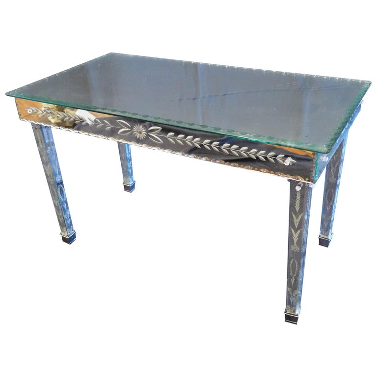 Venetian Mirrored Glass Coffee Table by S.A.L.I.R. For Sale