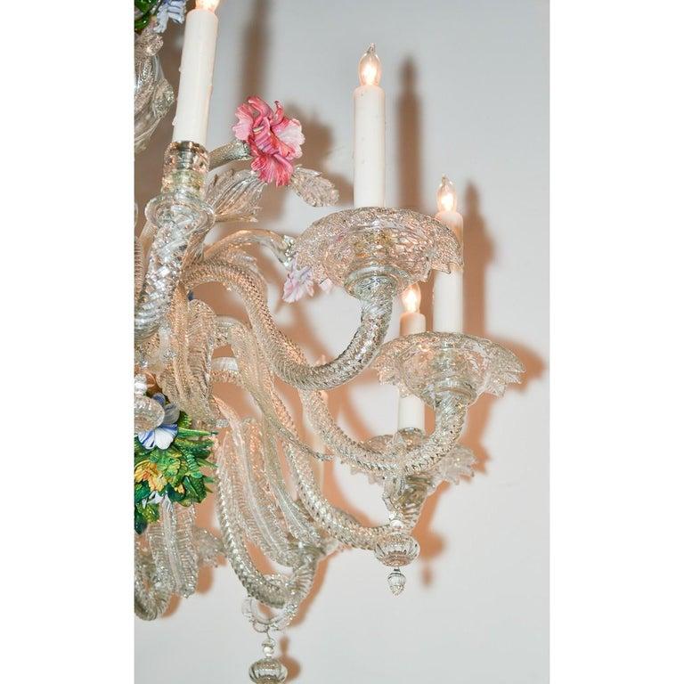 Italian Venetian Multi-Color Glass Chandelier, circa 1920 For Sale