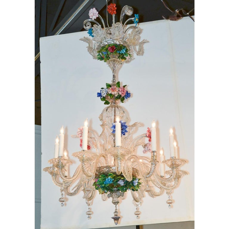 Dyed Venetian Multi-Color Glass Chandelier, circa 1920 For Sale