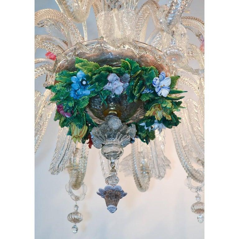 Venetian Multi-Color Glass Chandelier, circa 1920 In Excellent Condition For Sale In Dallas, TX