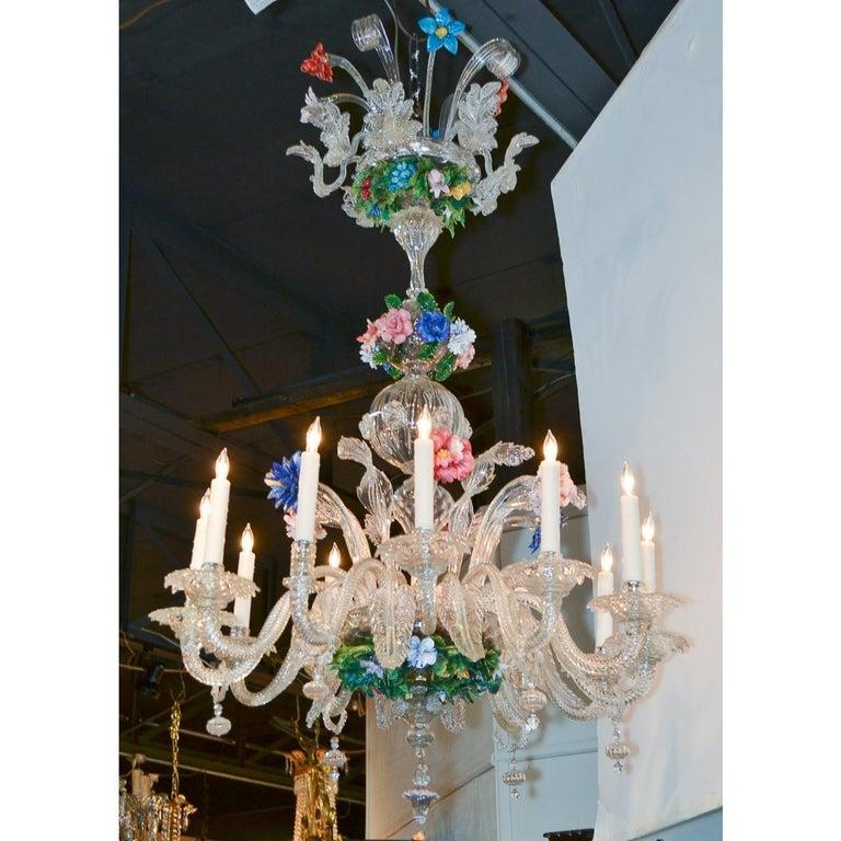20th Century Venetian Multi-Color Glass Chandelier, circa 1920 For Sale