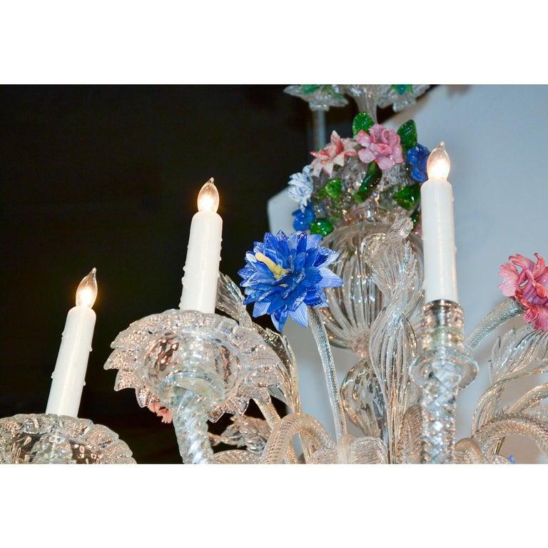 Crystal Venetian Multi-Color Glass Chandelier, circa 1920 For Sale
