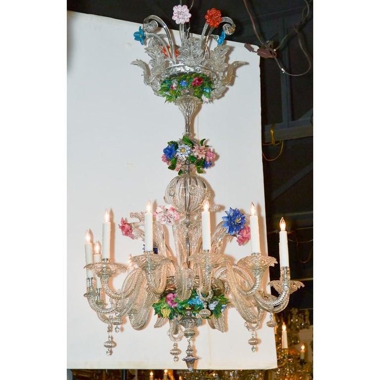 Venetian Multi-Color Glass Chandelier, circa 1920 For Sale 1