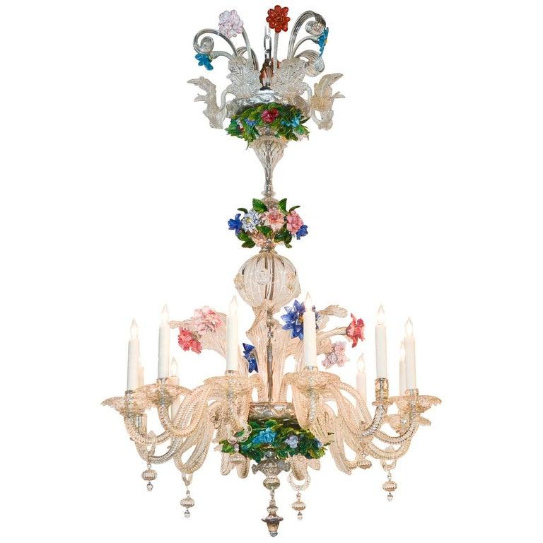 Venetian Multi-Color Glass Chandelier, circa 1920 For Sale