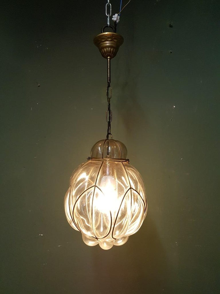 Italian Venetian Murano 1 Light Pendant with Clear Glass Hand Blown For Sale