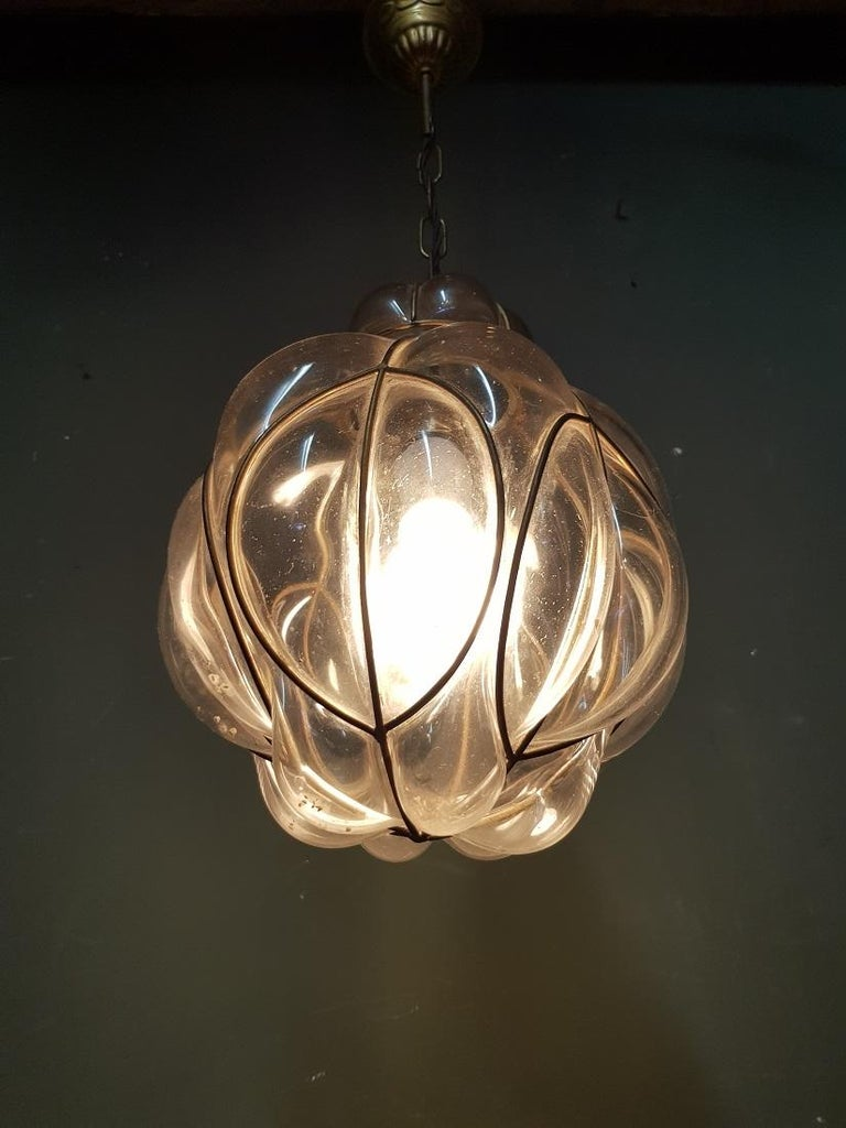 Venetian Murano 1 Light Pendant with Clear Glass Hand Blown In Good Condition For Sale In Raalte, NL
