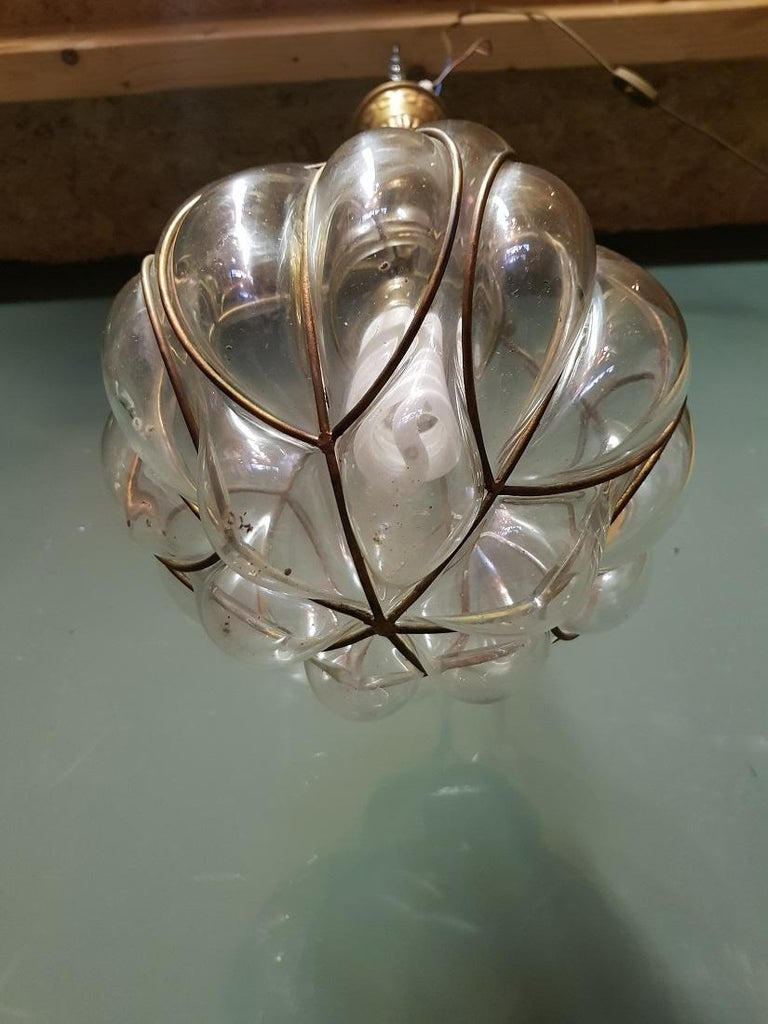 20th Century Venetian Murano 1 Light Pendant with Clear Glass Hand Blown For Sale