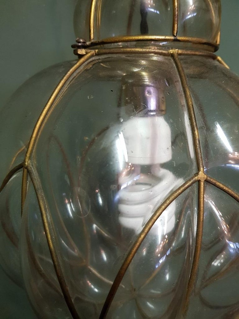 Metal Venetian Murano 1 Light Pendant with Clear Glass Hand Blown For Sale