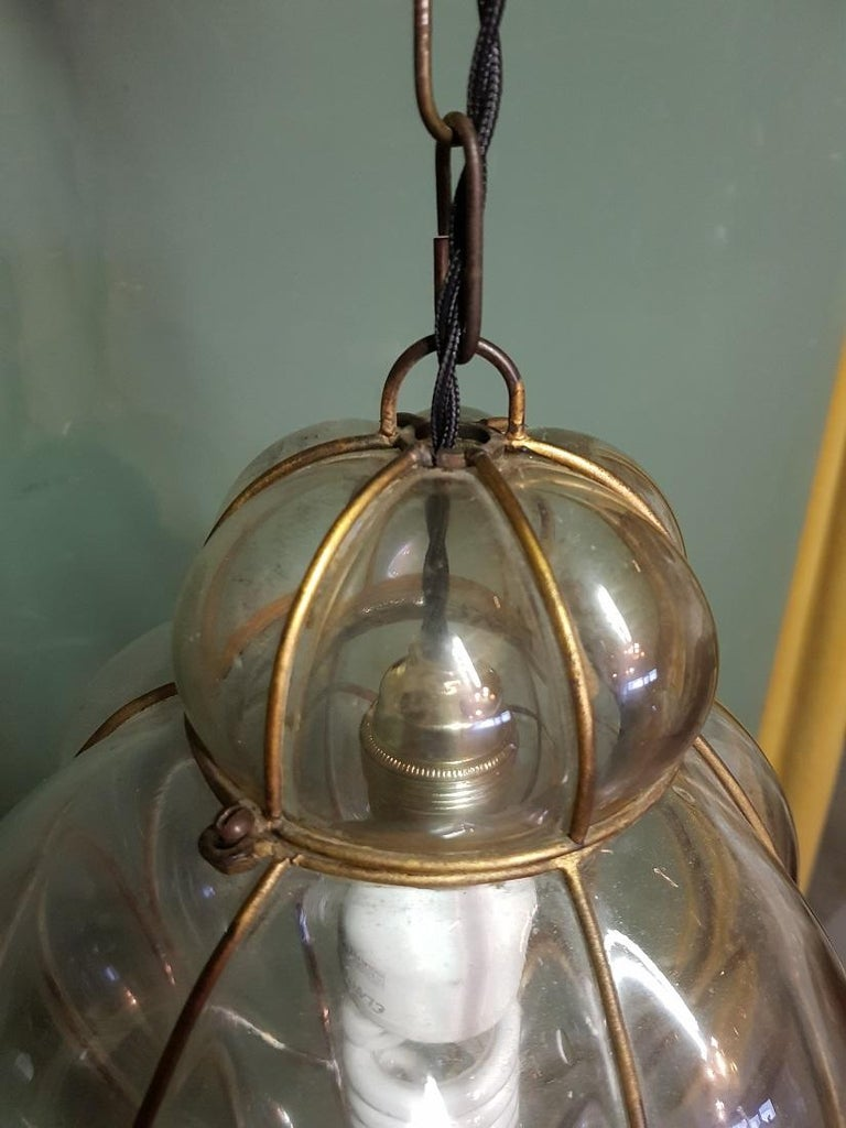 Venetian Murano 1 Light Pendant with Clear Glass Hand Blown For Sale 2