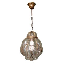 Venetian Murano 1 Light Pendant with Clear Glass Hand Blown