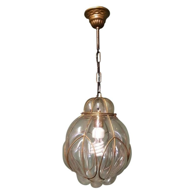 Venetian Murano 1 Light Pendant with Clear Glass Hand Blown For Sale