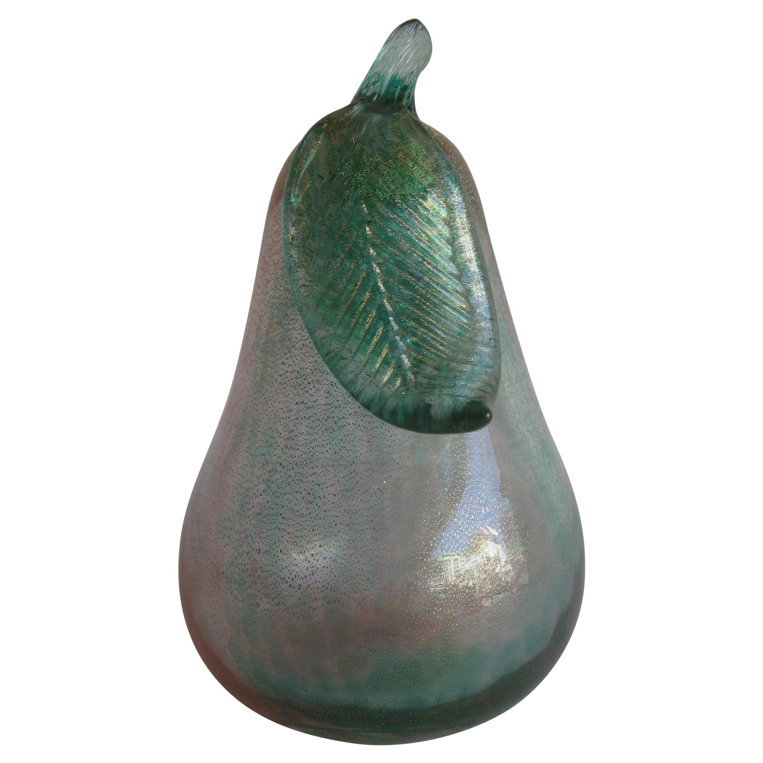 Venetian Murano Art Glass Pink and Green Figural Fruit Pear by Alfredo Barbini