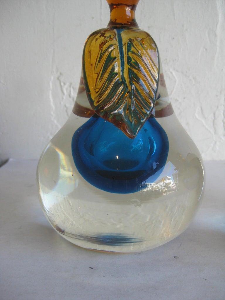Venetian Murano Art Glass Sommerso Apple & Pear Bookends by Alfredo Barbini For Sale 9