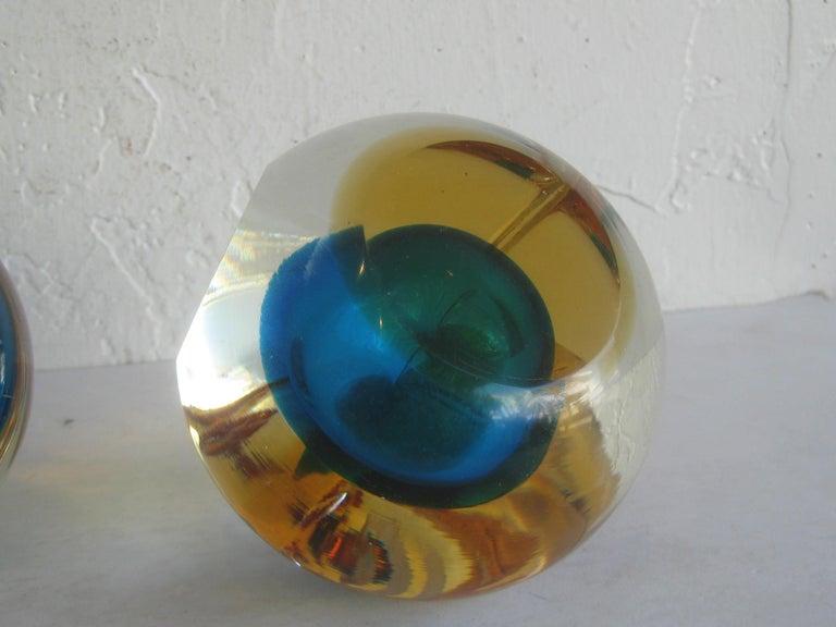 Venetian Murano Art Glass Sommerso Apple & Pear Bookends by Alfredo Barbini For Sale 14