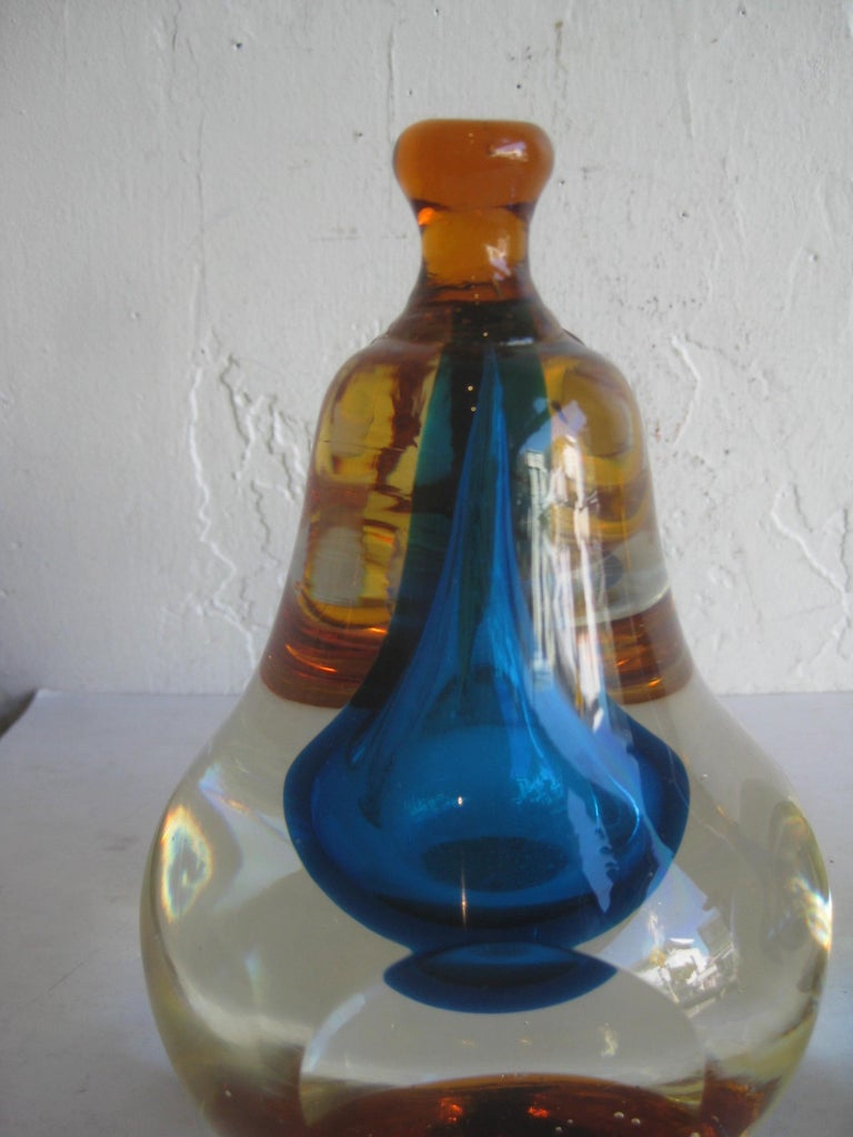 Venetian Murano Art Glass Sommerso Apple & Pear Bookends by Alfredo Barbini For Sale 2