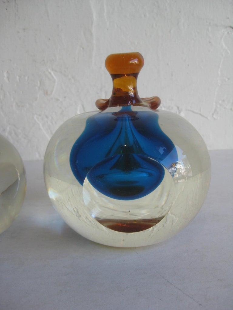 Venetian Murano Art Glass Sommerso Apple & Pear Bookends by Alfredo Barbini For Sale 4