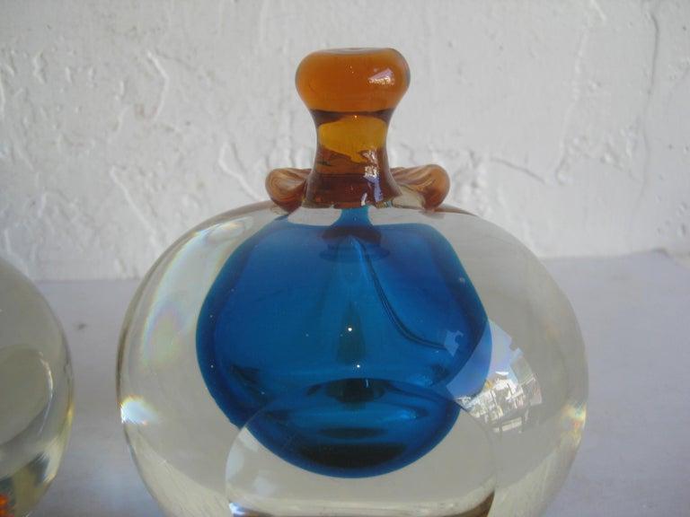 Venetian Murano Art Glass Sommerso Apple & Pear Bookends by Alfredo Barbini For Sale 5