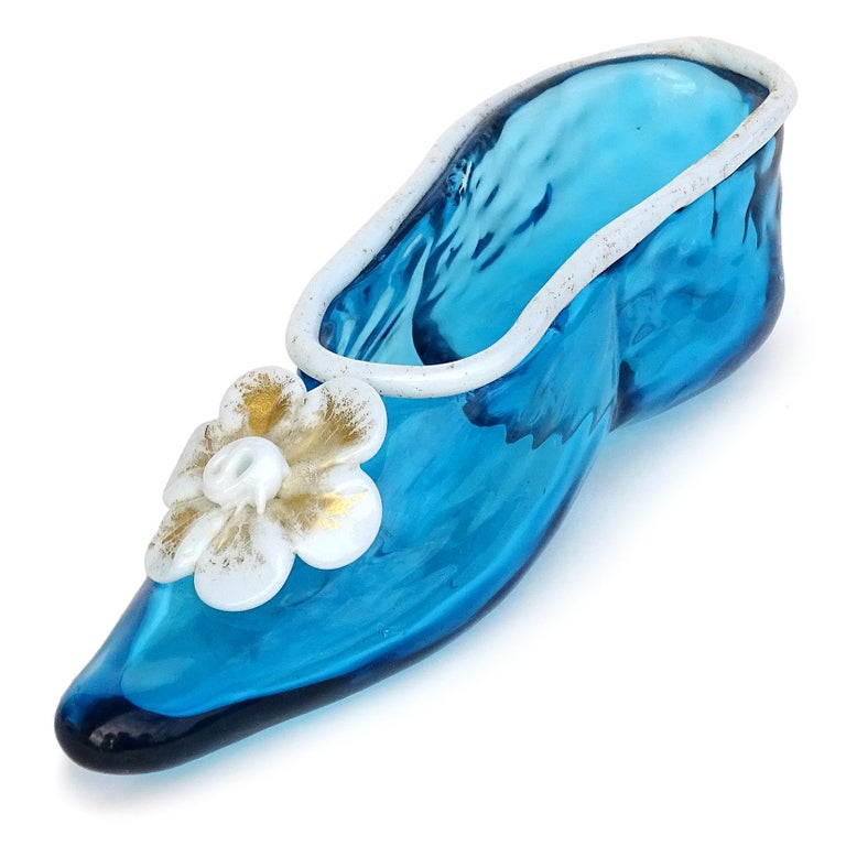 Hand-Crafted Venetian Murano Blue White Gold Flecks Italian Art Glass Ballet Slipper Shoe For Sale