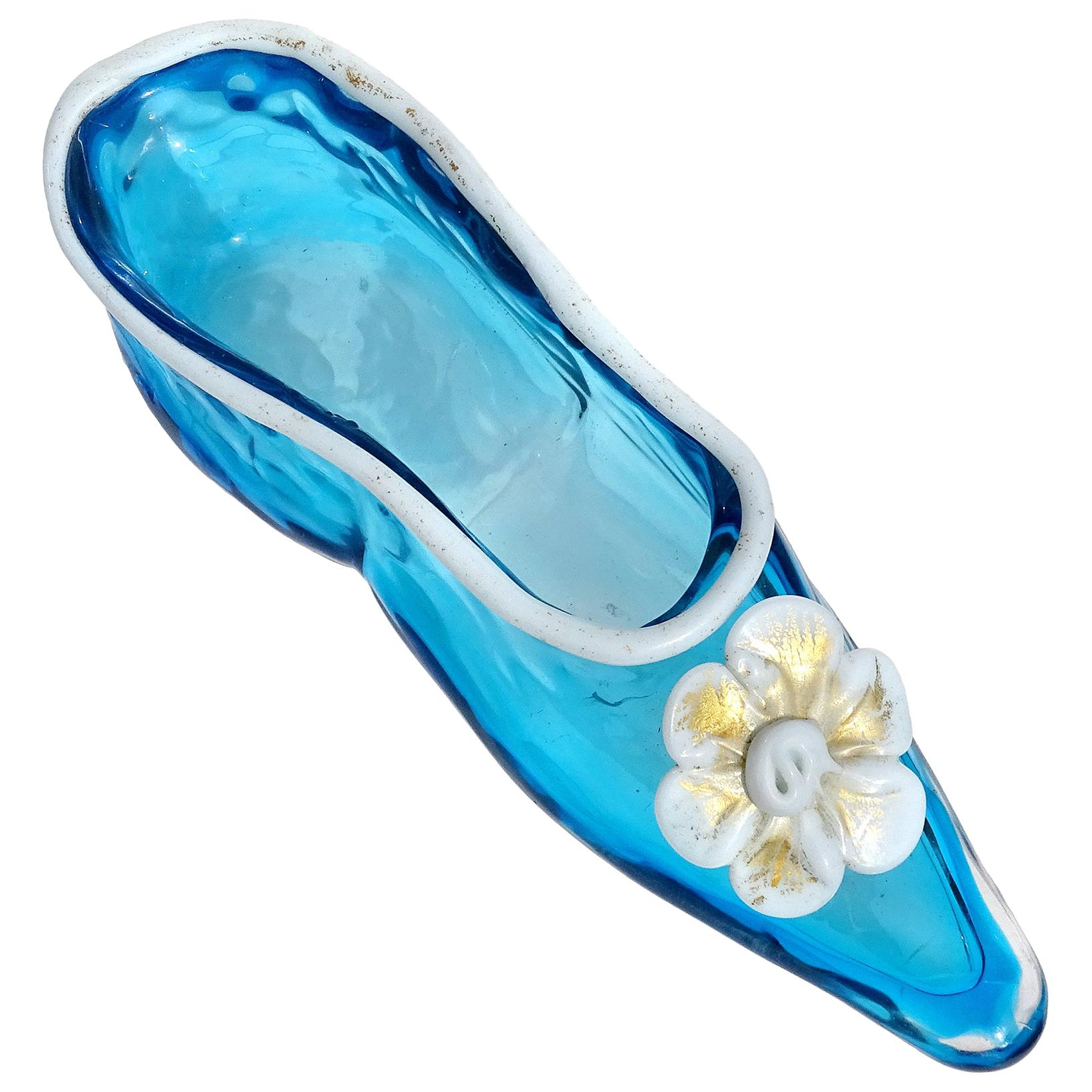 Venetian Murano Blue White Gold Flecks Italian Art Glass Ballet Slipper Shoe