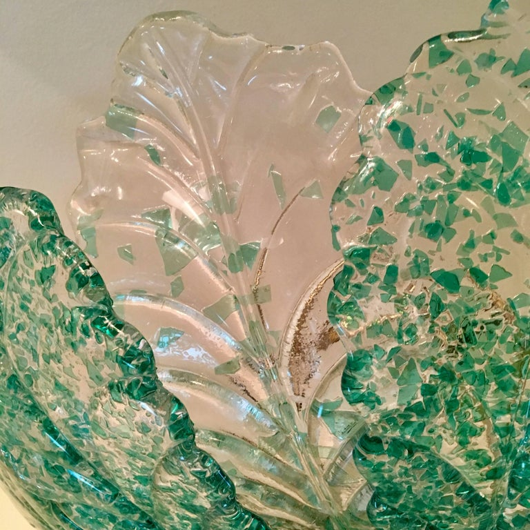 Venetian Murano Glass 1940s Sea Foam Light In Excellent Condition For Sale In New York, NY