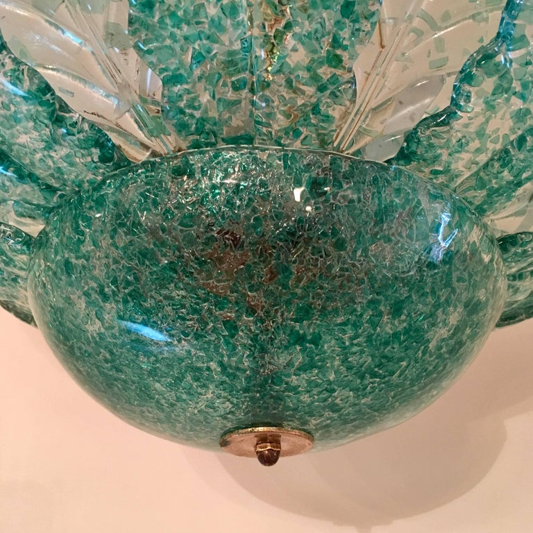 Mid-20th Century Venetian Murano Glass 1940s Sea Foam Light For Sale