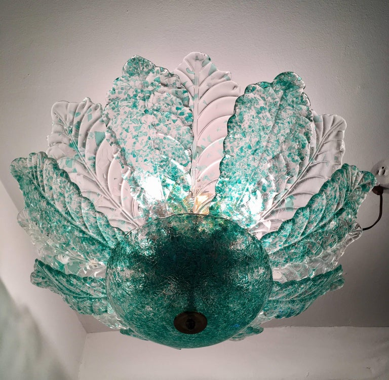 Brass Venetian Murano Glass 1940s Sea Foam Light For Sale