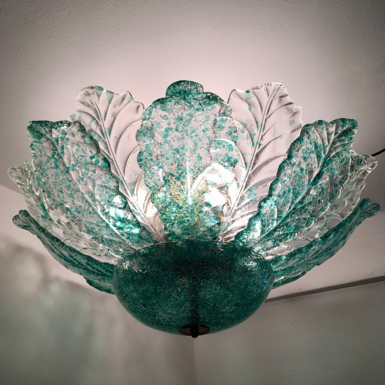 Venetian Murano Glass 1940s Sea Foam Light For Sale 2