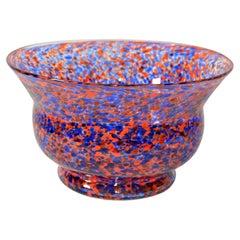 Venetian Murano Glass Bowl in Orange and Blue Sprinkles, Italy, 1970