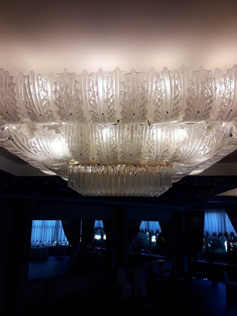 Metal Venetian Murano Glass Ceiling Light For Sale