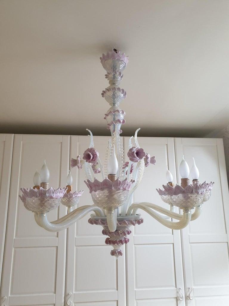 Venetian Murano Glass Chandelier For Sale 5